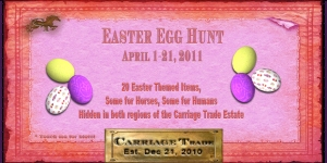invitation announcing the monthly treasure hunt @ Carriage Trade