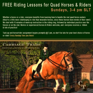 Learn to ride the spectacular quad horse avatars of Second Life